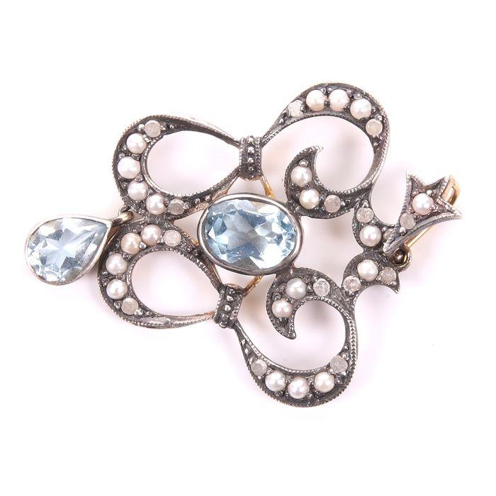 Victorian Aquamarine, Diamond & Pearl Pendant - Image 3 of 4