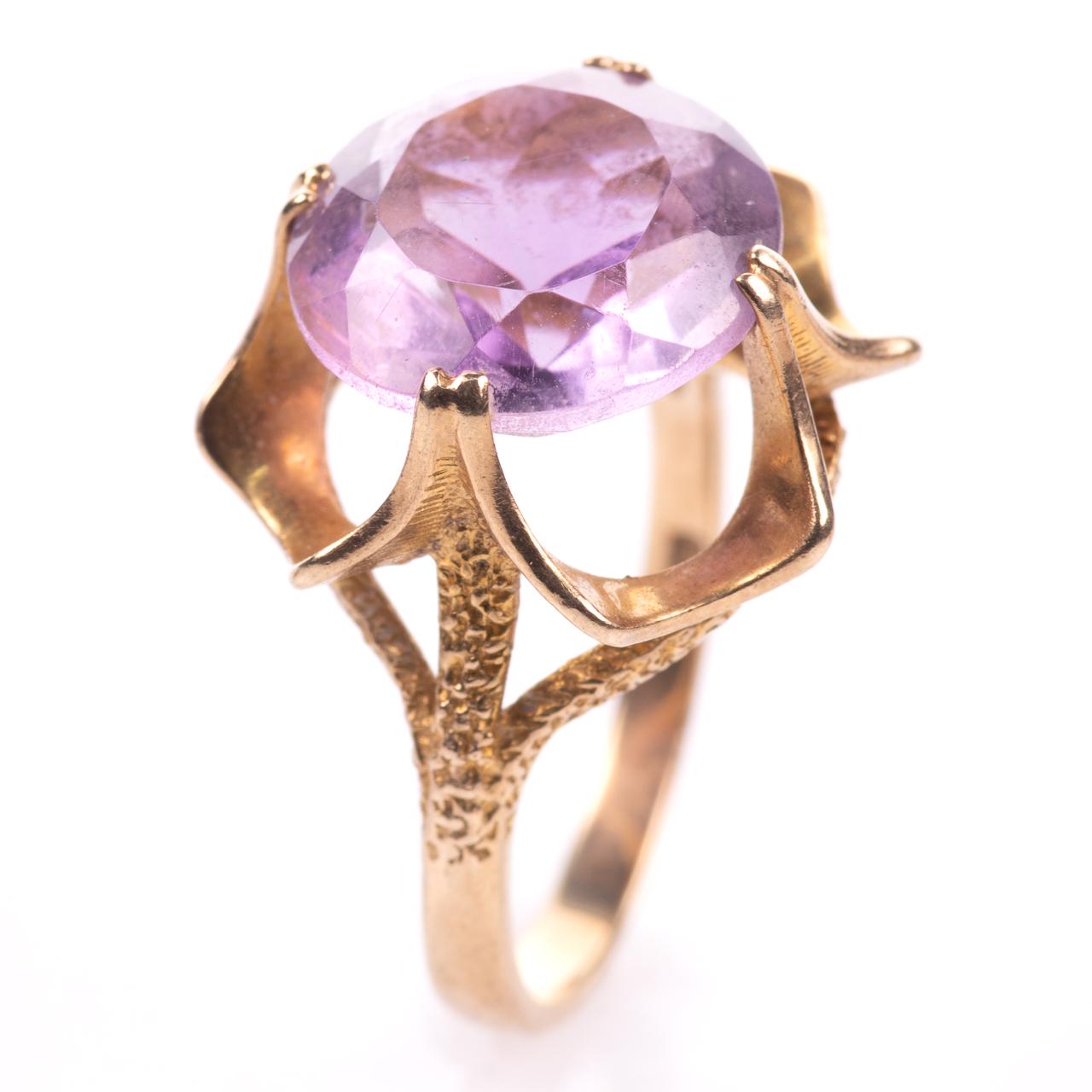 9ct Gold 6.45ct Amethyst Ring London 1974