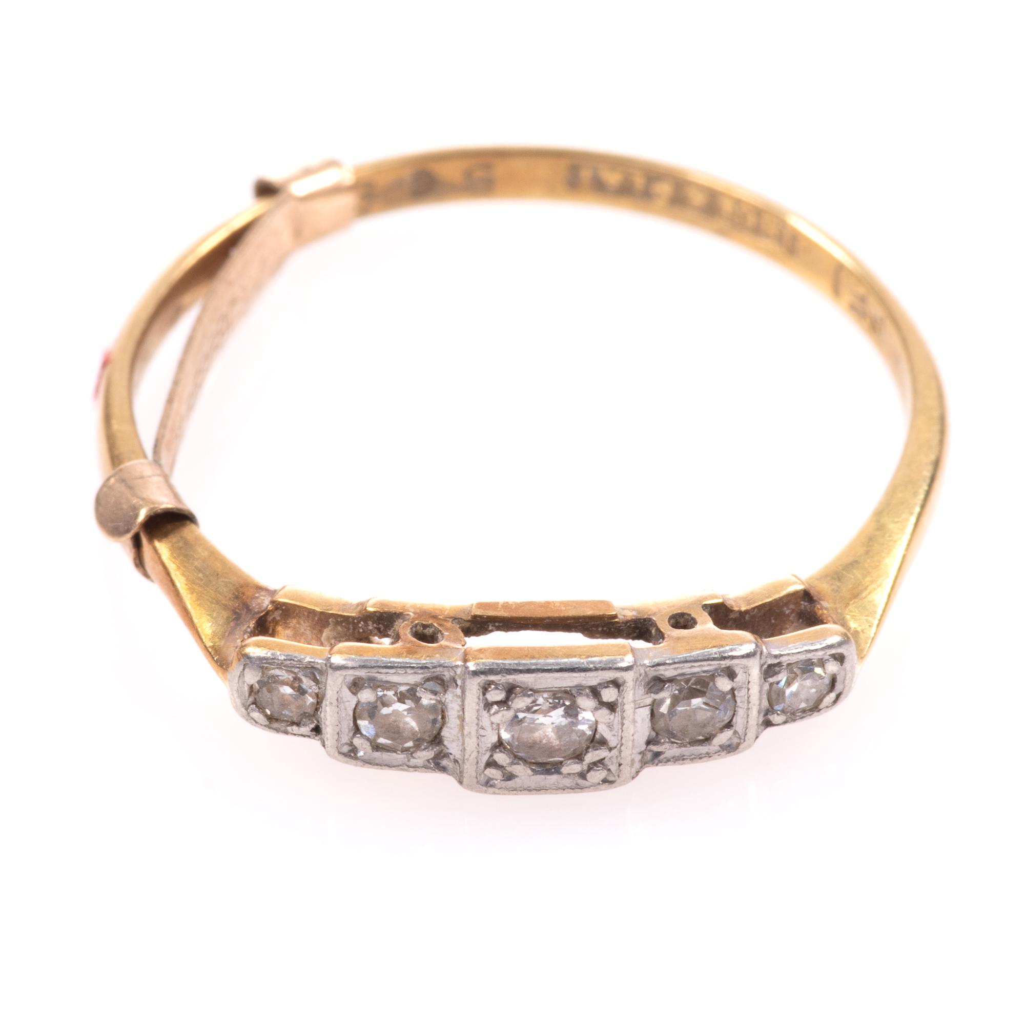 18ct Gold & Platinum Art Deco Diamond Ring