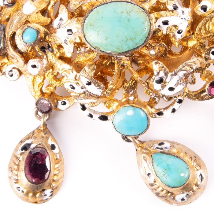 Victorian Renaissance Revival Jewel Turquoise & Foil Brooch - Image 2 of 6