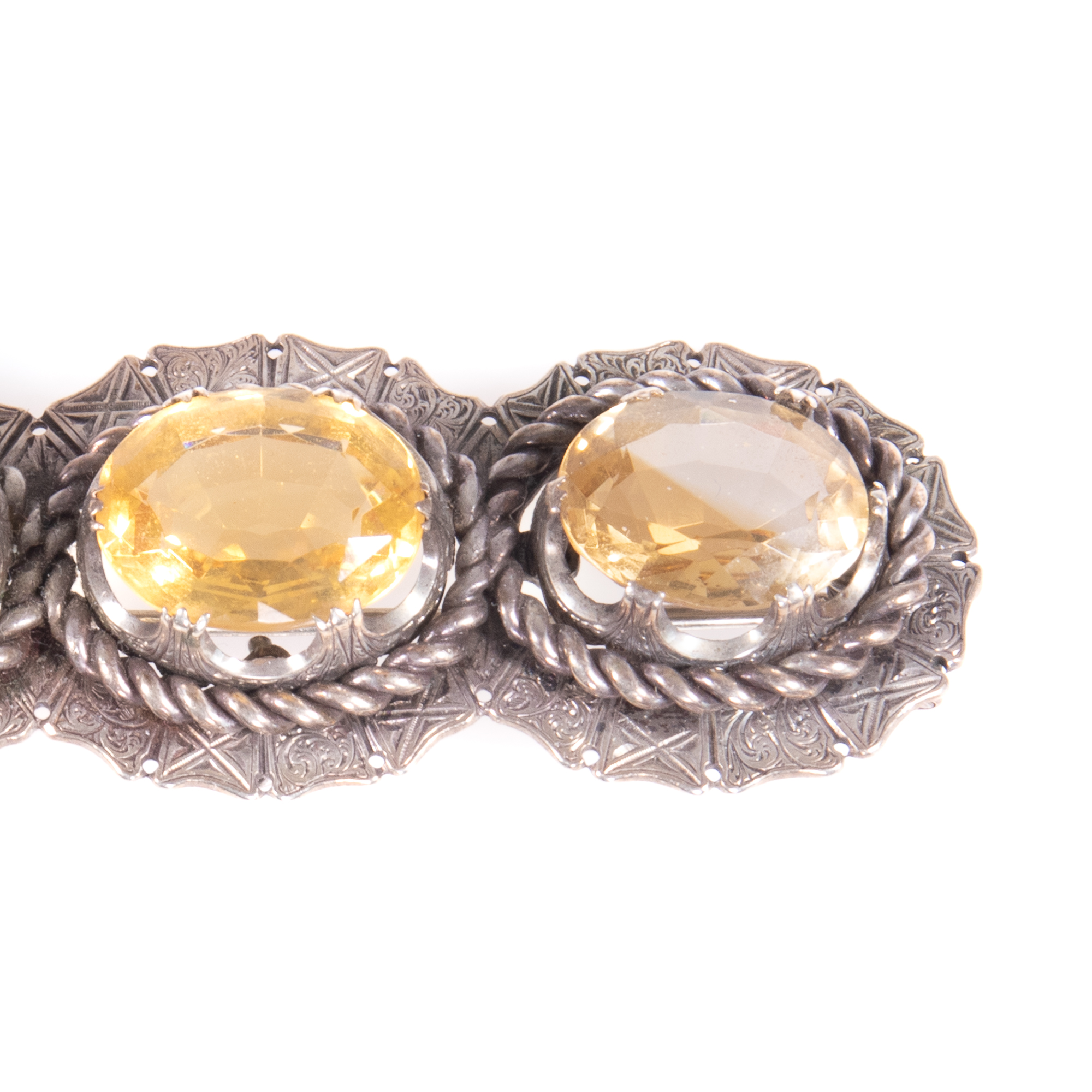 Victorian Cairngorm Silver 28.20ct Citrine Brooch ca. 1880 - Image 3 of 6