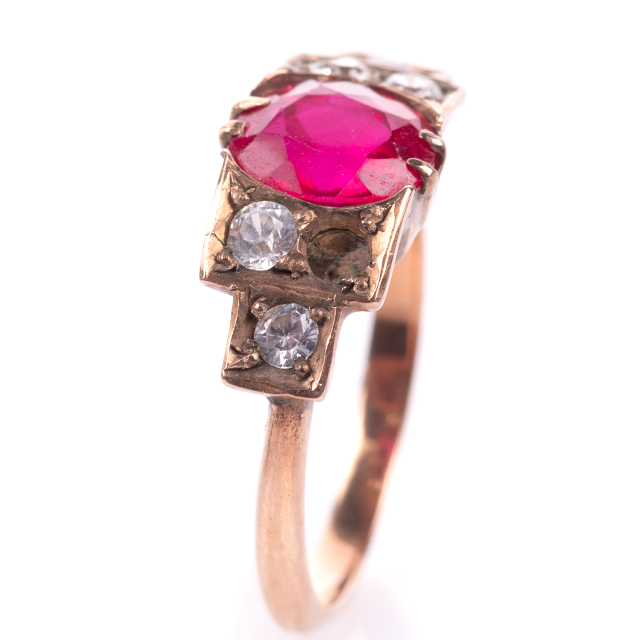 Art Deco Ruby & Paste Ring - Image 3 of 6
