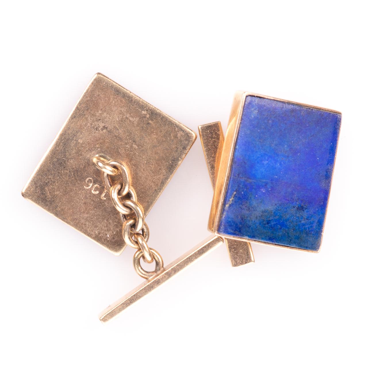 9ct Gold Gentleman's Lapis Lazuli Cufflinks - Image 3 of 5