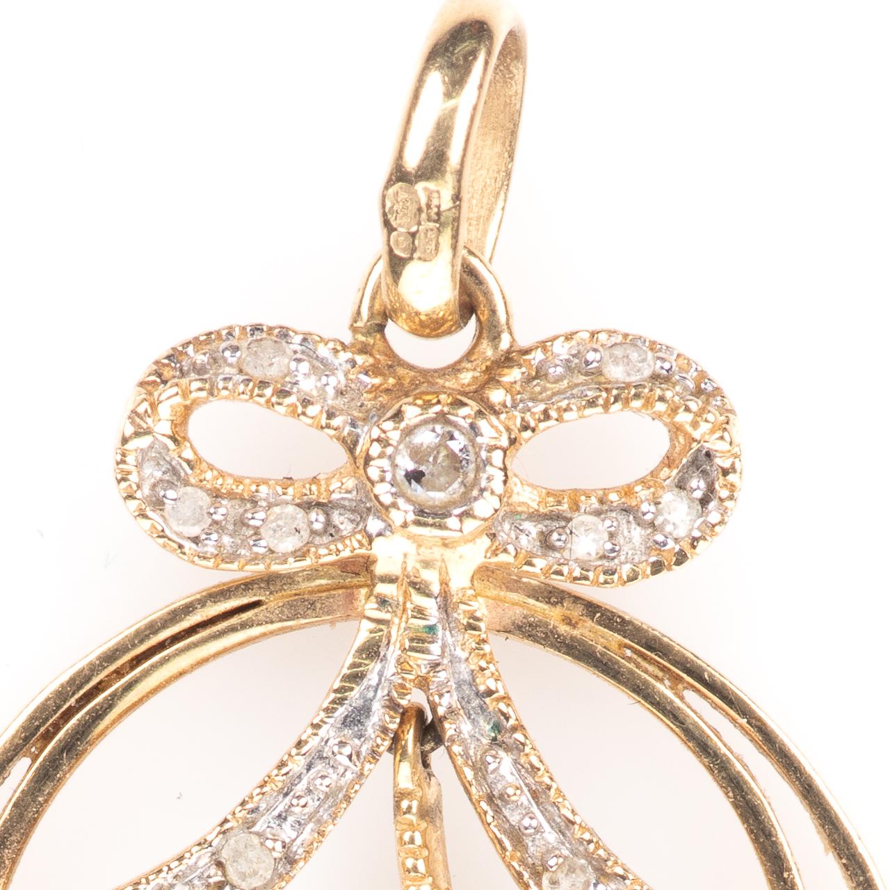 9ct Gold Art Nouveau Peridot & Diamond Pendant - Image 2 of 6