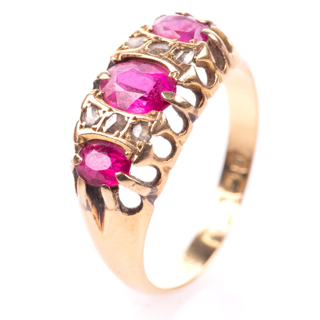 18ct Gold 1.20ct Ruby & Diamond Ring Birmingham 1915