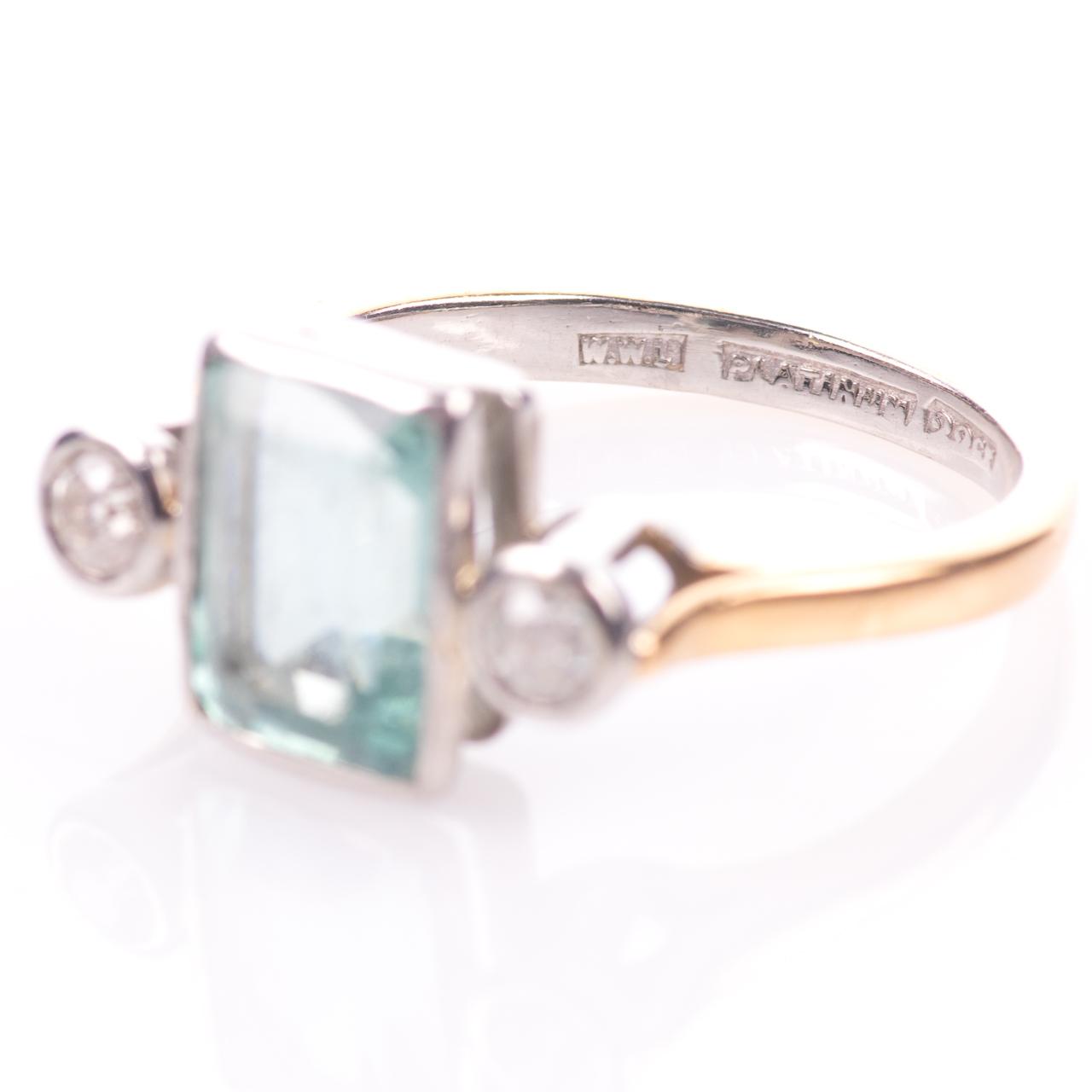 22ct Gold & Platinum 2ct Aquamarine & Diamond Art Deco Ring - Image 4 of 8