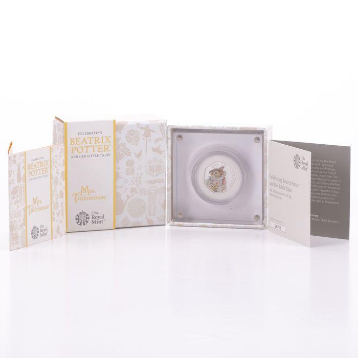 UK 50 Pence Silver Coin Beatrix Potter - Mrs Tittlemouse