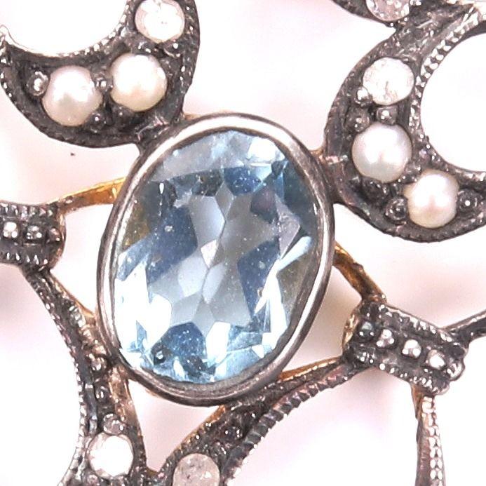 Victorian Aquamarine, Diamond & Pearl Pendant - Image 2 of 4