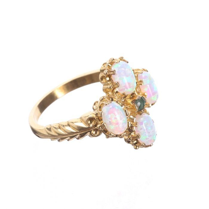Gilded Emerald & Opal Ring - Image 5 of 5