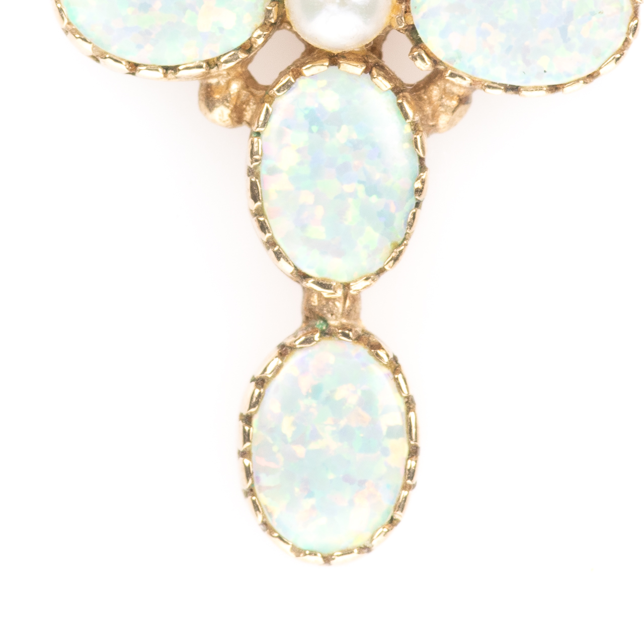 9ct Gold Solid 1ct Opal & Pearl Cross Pendant - Image 2 of 6