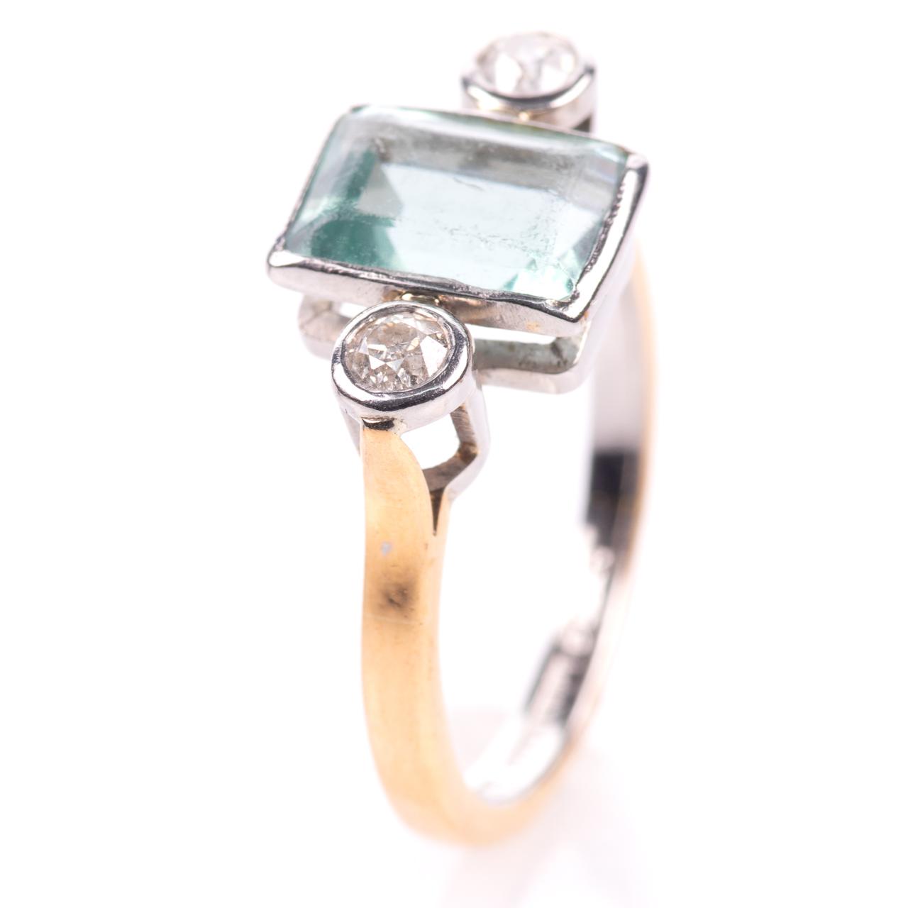 22ct Gold & Platinum 2ct Aquamarine & Diamond Art Deco Ring