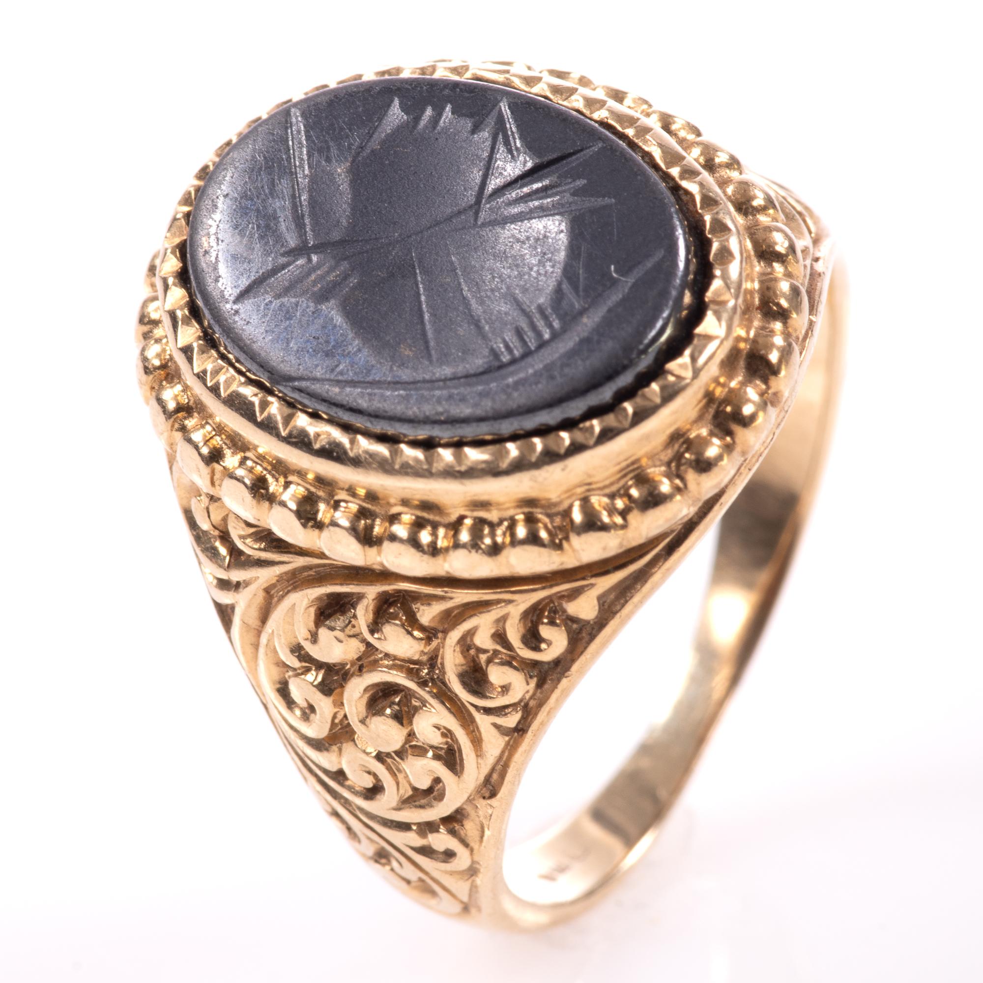 9ct Gold Centurion Onyx Signet Ring
