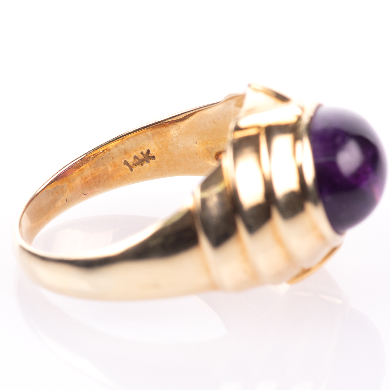 14ct Gold Amethyst Cabochon Ring Egyptian Revival Style - Image 9 of 9