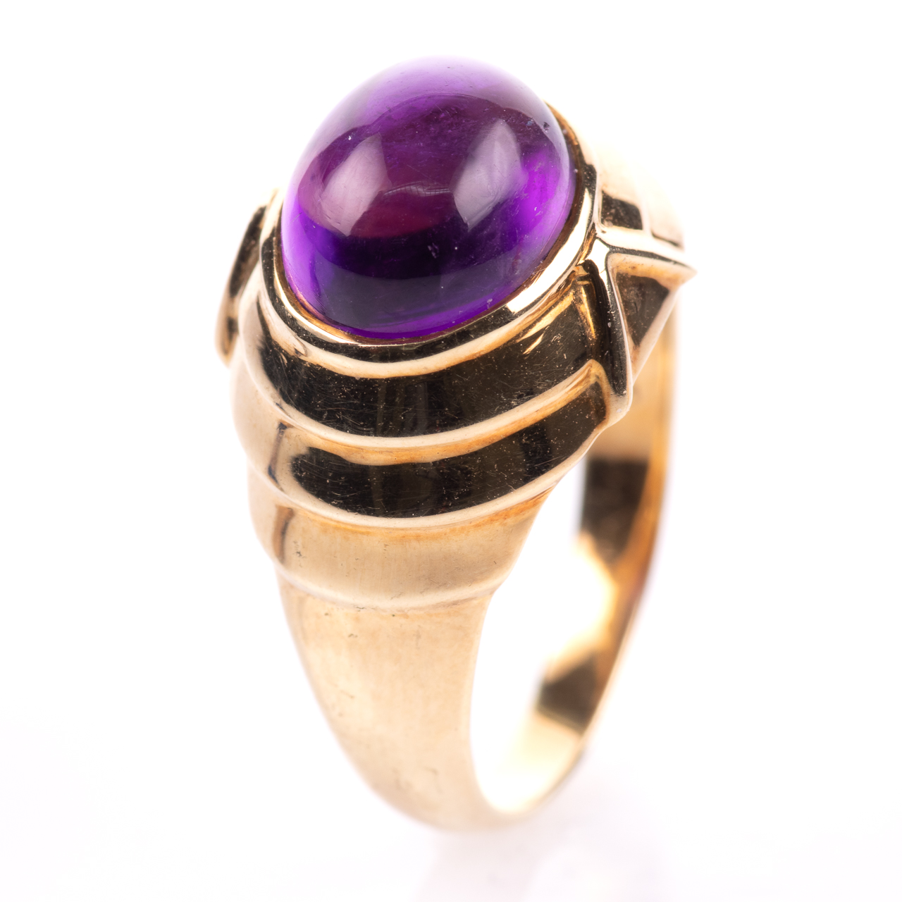 14ct Gold Amethyst Cabochon Ring Egyptian Revival Style