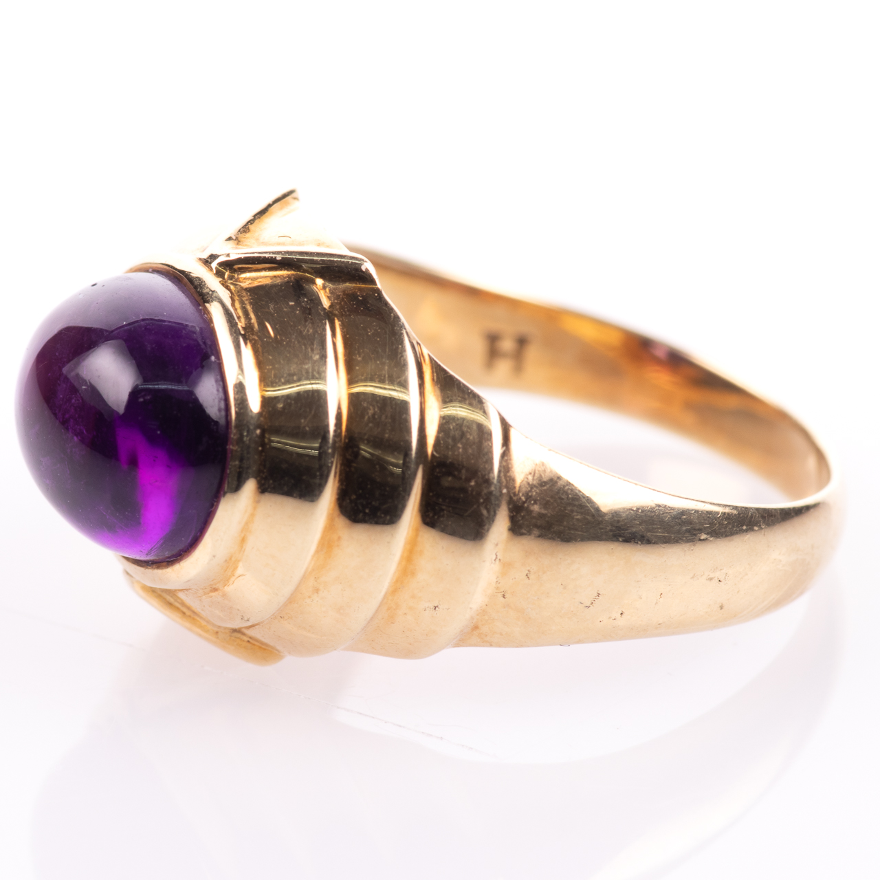 14ct Gold Amethyst Cabochon Ring Egyptian Revival Style - Image 4 of 9