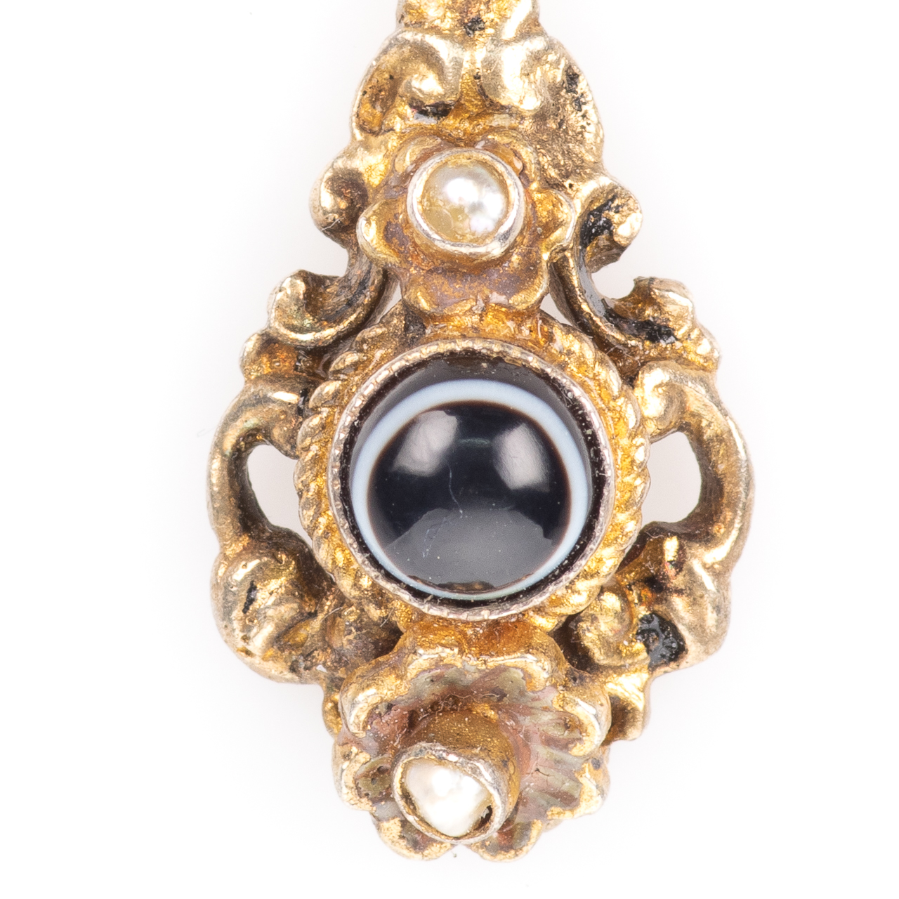 Momento Mori Pinchbeck Pearl & Banded Agate Victorian Pendant - Image 3 of 4