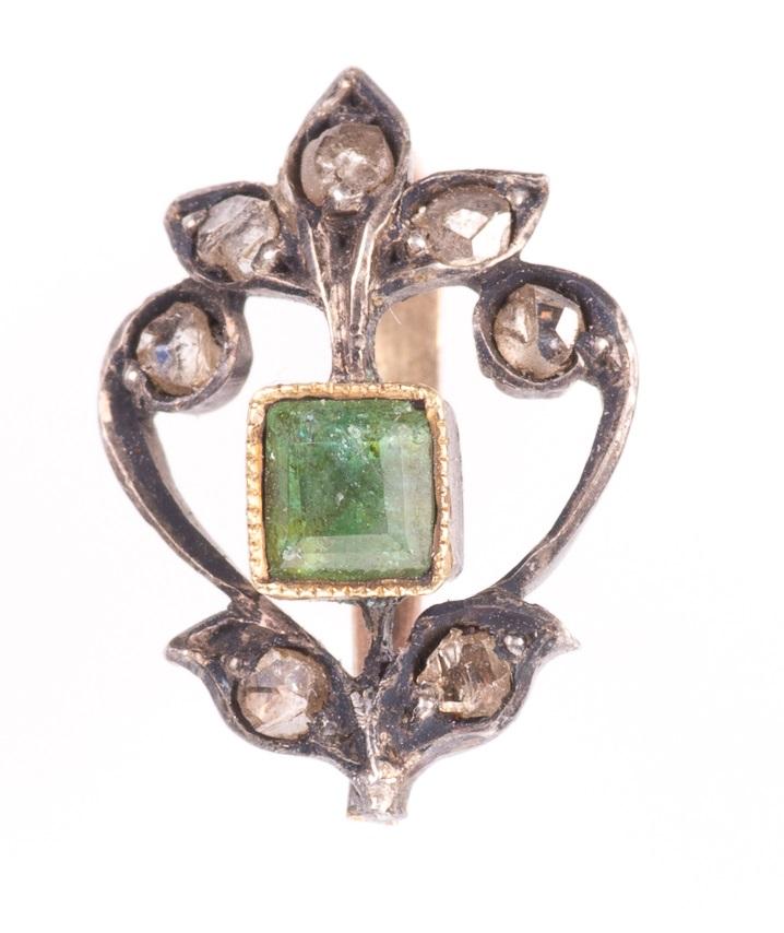 Rose Cut Diamond & Emerald Fleur de Lis Pendant