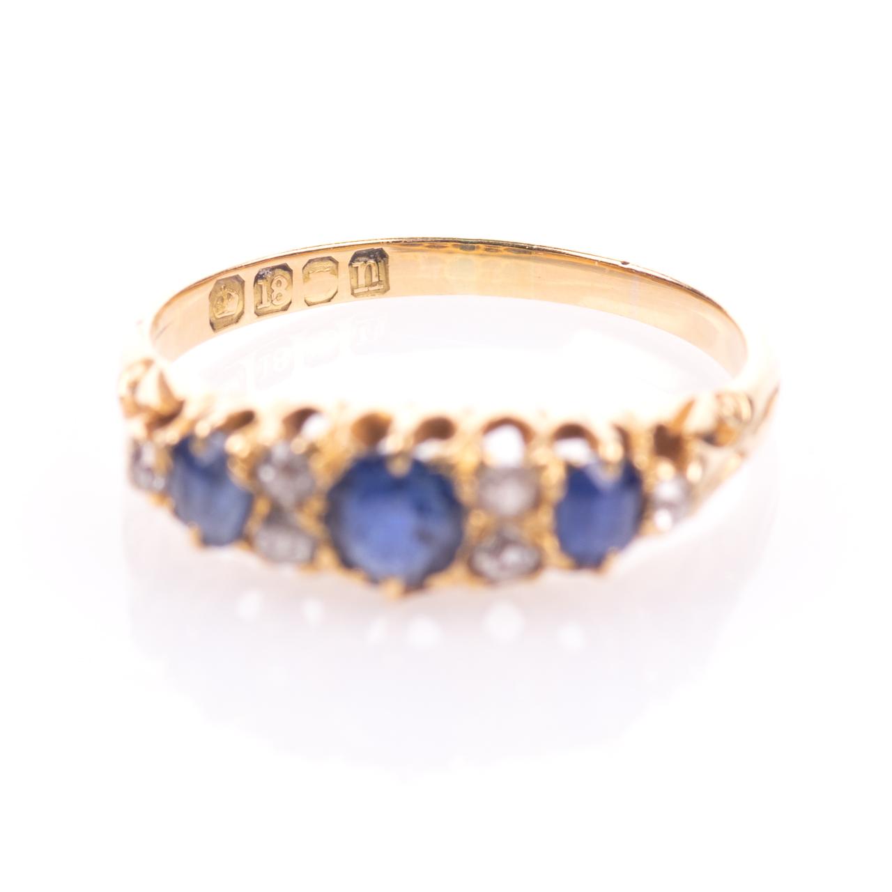 18ct Gold George V 1ct Sapphire & Diamond Ring London 1908 - Image 4 of 7