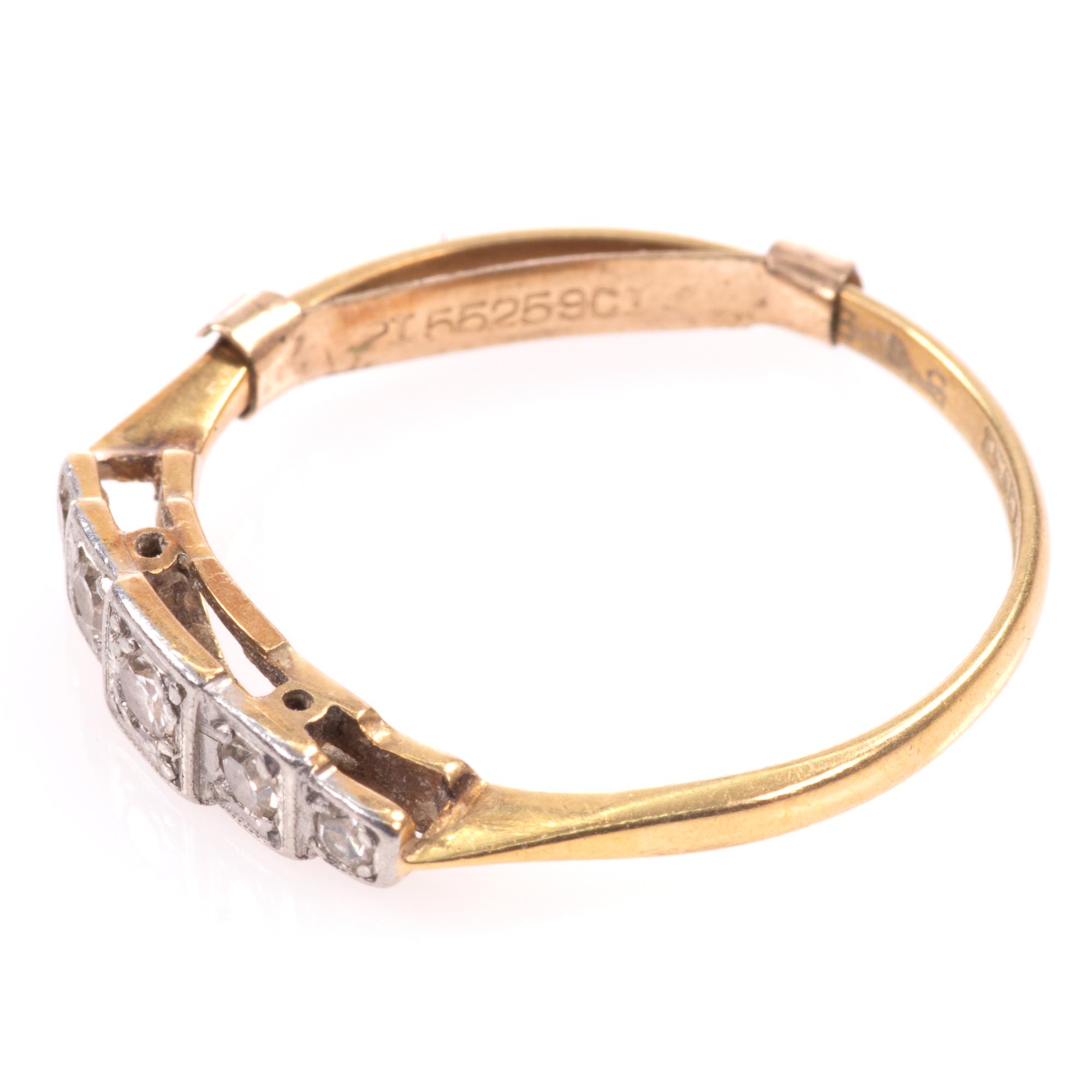 18ct Gold & Platinum Art Deco Diamond Ring - Image 5 of 9