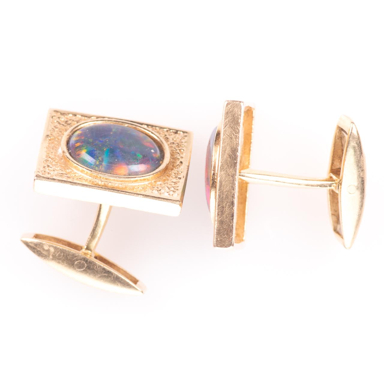 14ct Gold Gentleman's Black Lightning Opal Cufflinks - Image 5 of 6