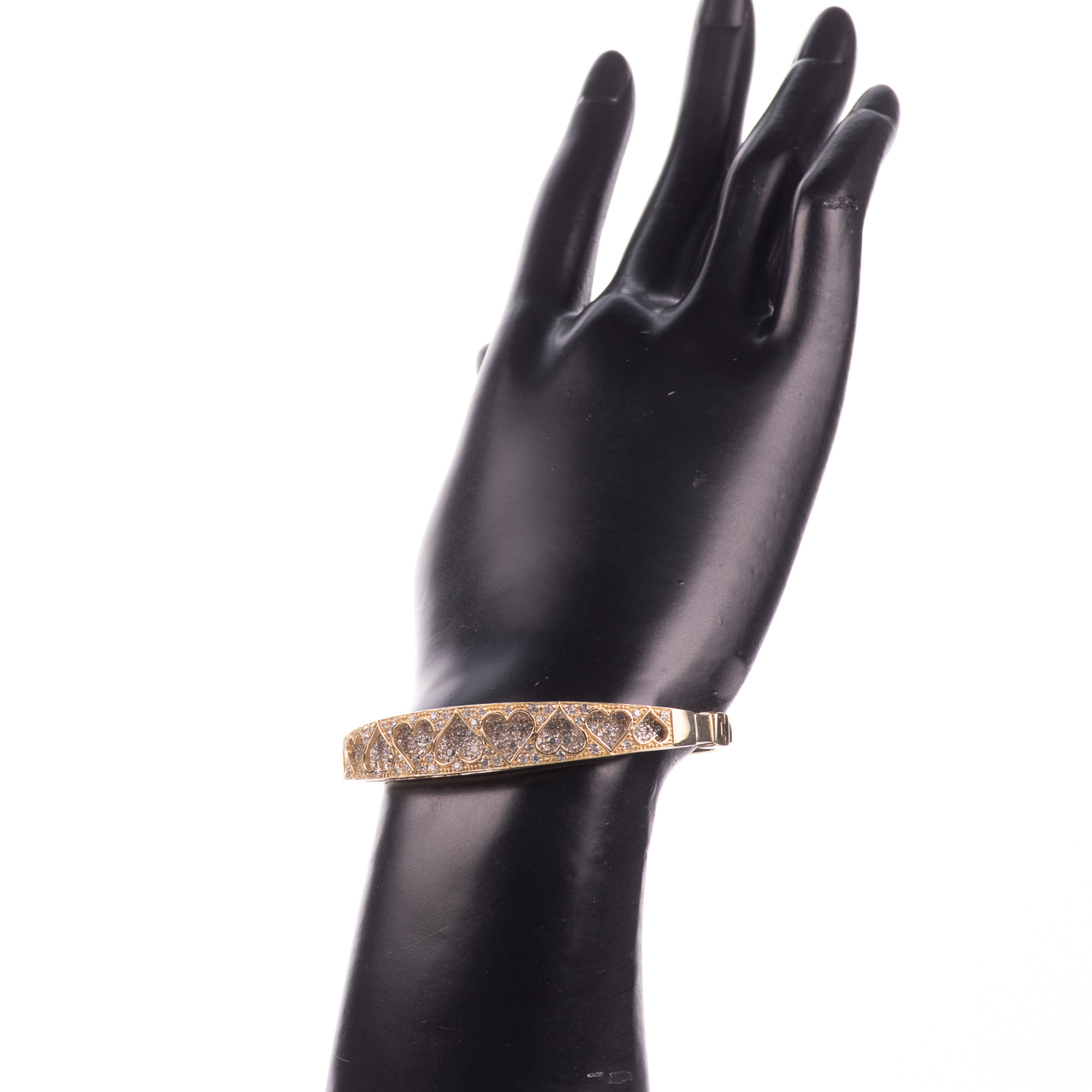 9ct Gold 4ct Diamond Heart Bangle Bracelet - Image 2 of 7