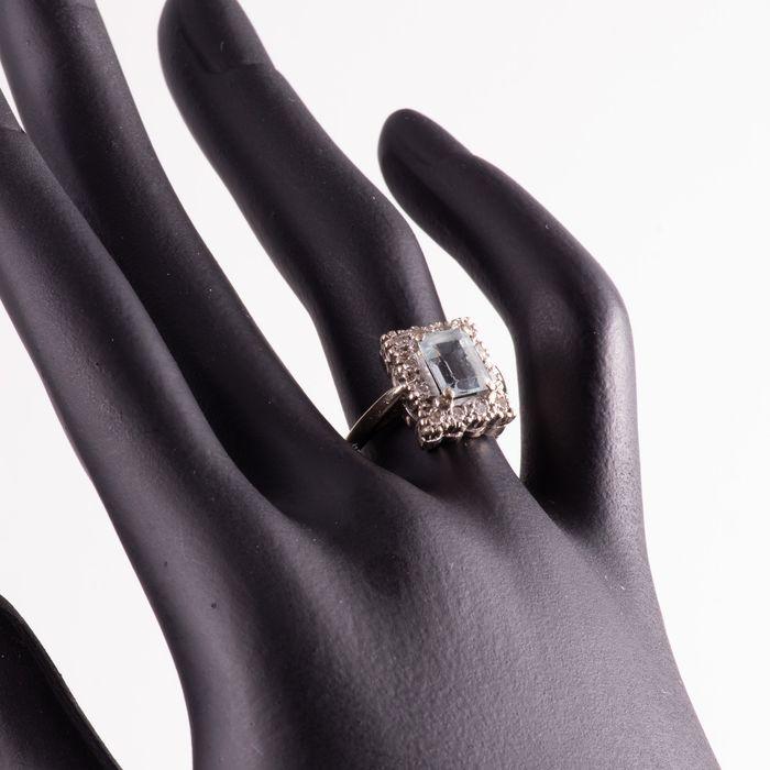 18ct Gold 1.40ct Aquamarine & Diamond Ring - Image 3 of 7