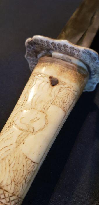 XIII Carved Bone Japanese Wakizashi Katana Edo Period ???? - Image 7 of 10