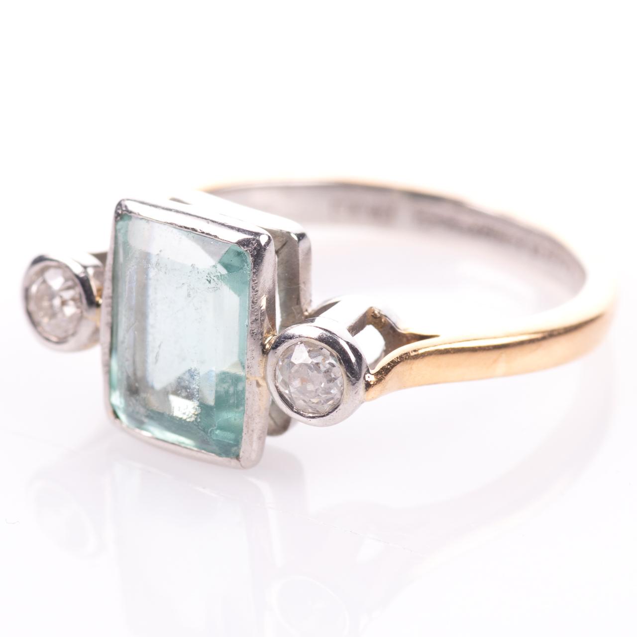 22ct Gold & Platinum 2ct Aquamarine & Diamond Art Deco Ring - Image 5 of 8