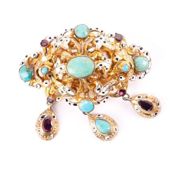 Victorian Renaissance Revival Jewel Turquoise & Foil Brooch