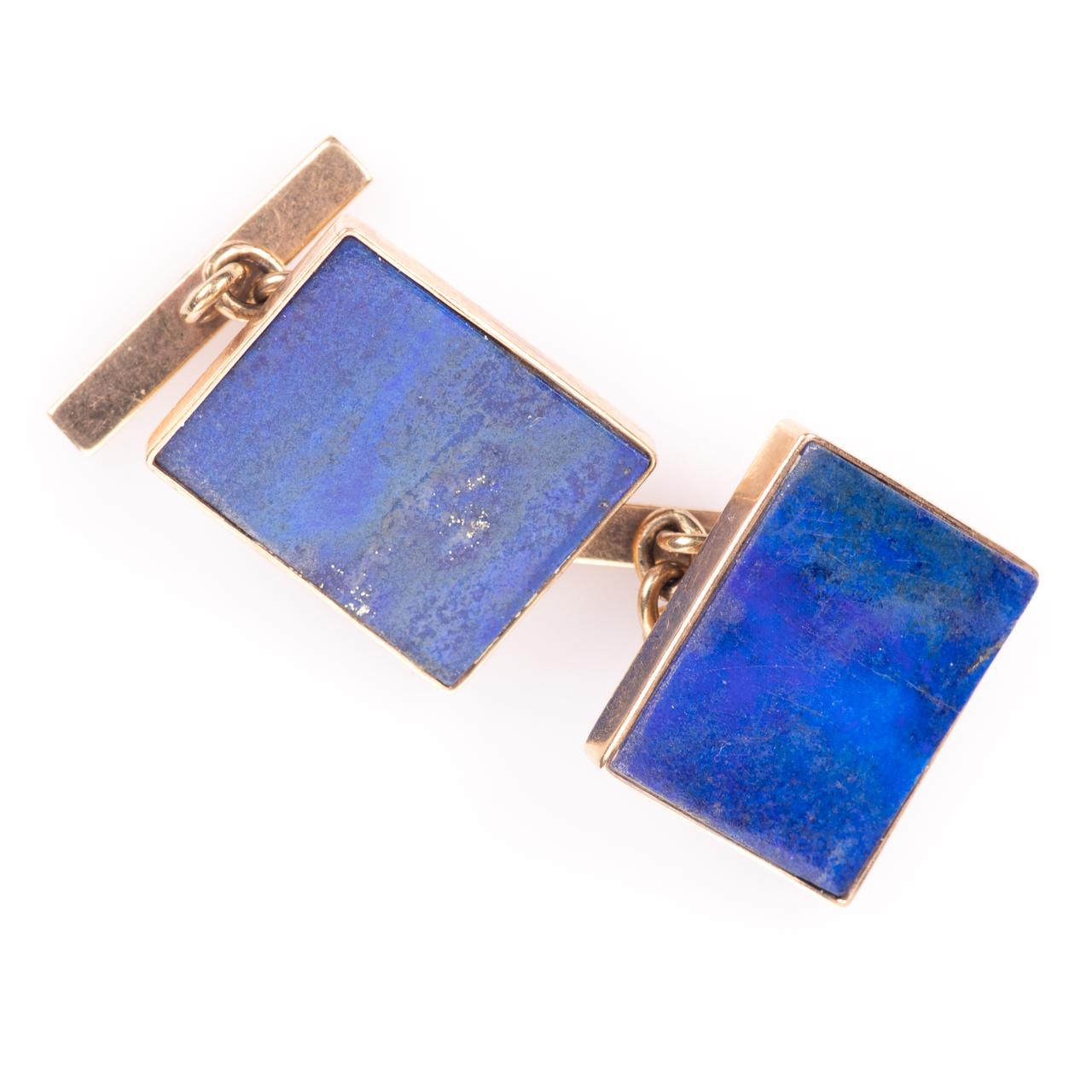 9ct Gold Gentleman's Lapis Lazuli Cufflinks