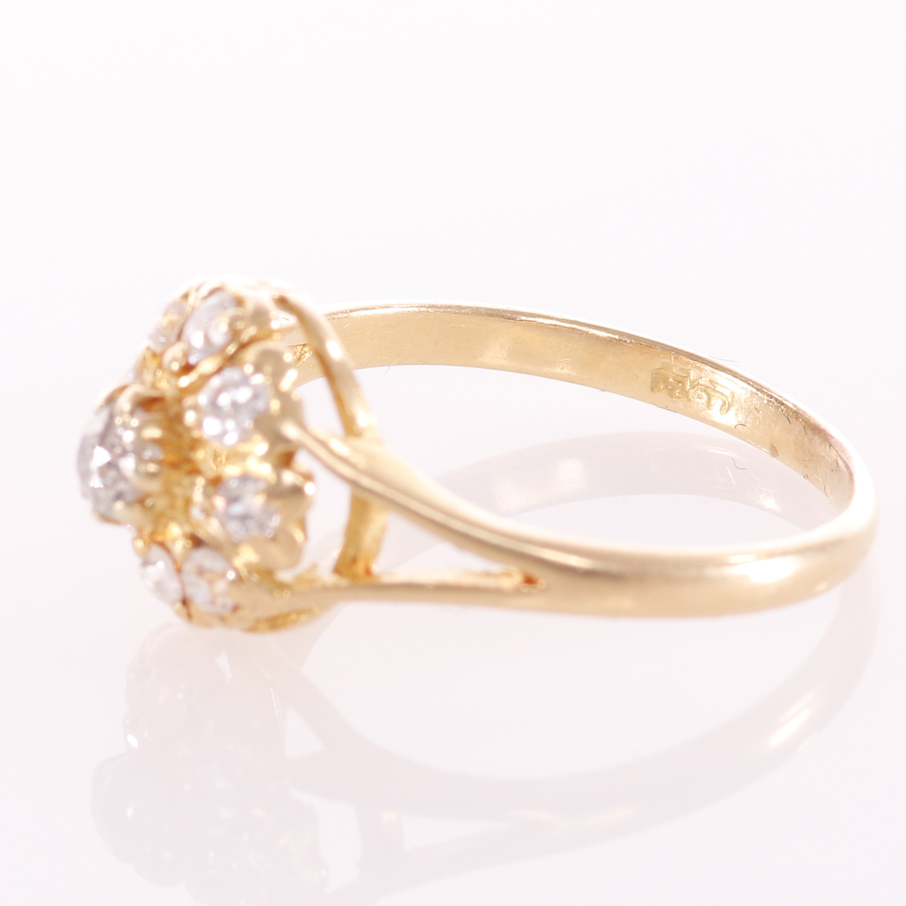 18ct Gold Rose Cut 0.35ct Diamond Cluster Ring - Image 5 of 8
