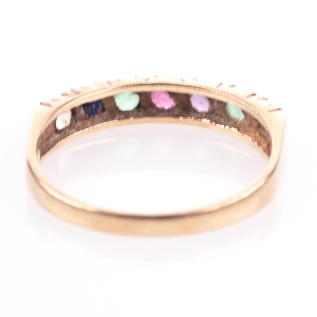 9ct Gold Emerald, Ruby, Amethyst, Sapphire & Diamond Ring - Image 7 of 8