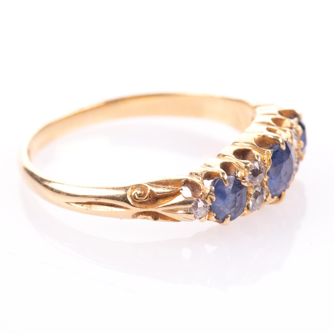 18ct Gold George V 1ct Sapphire & Diamond Ring London 1908 - Image 7 of 7