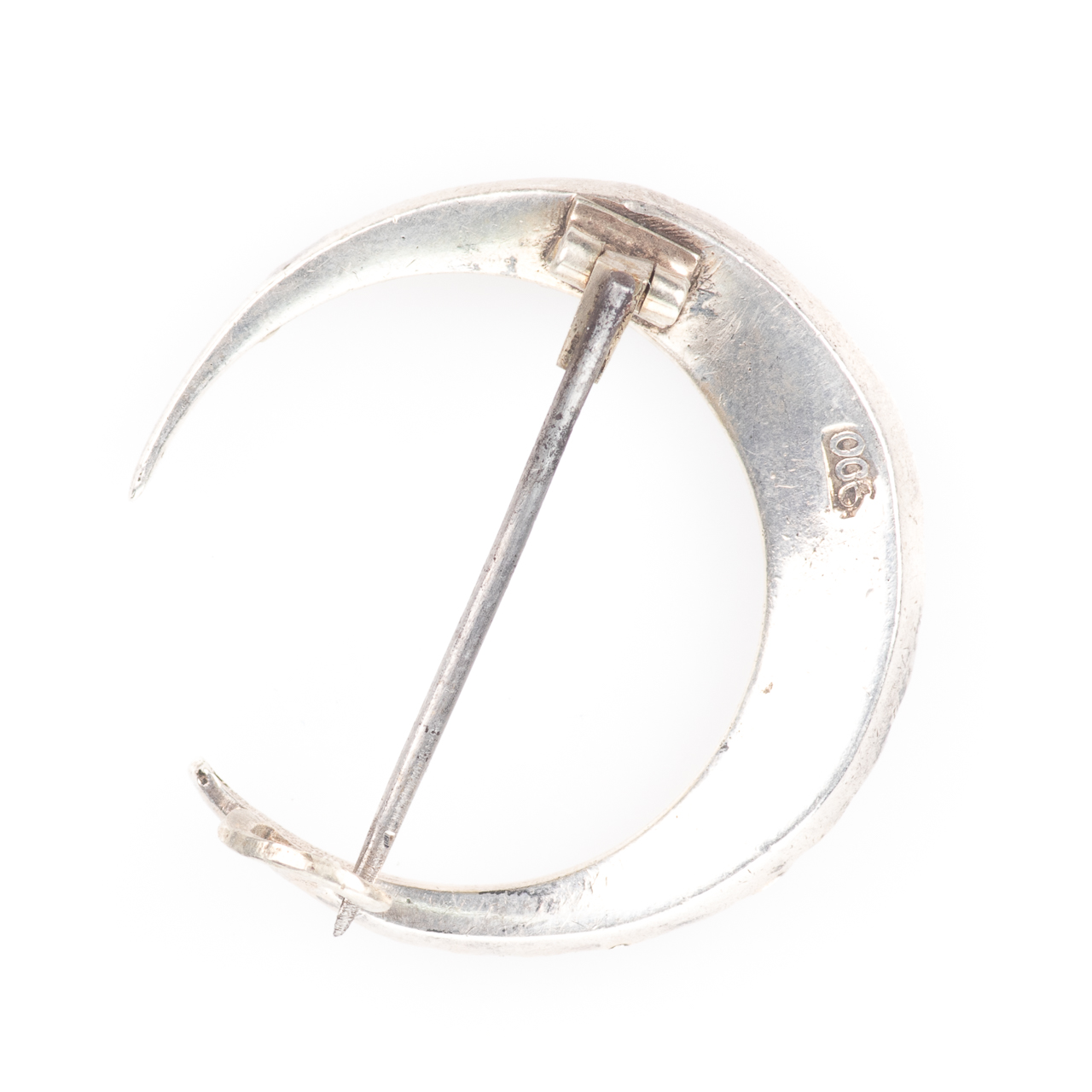 Victorian 900 Silver Paste Crescent Moon Brooch - Image 3 of 5