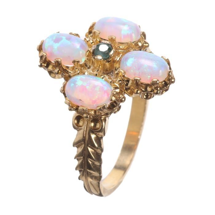 Gilded Emerald & Opal Ring