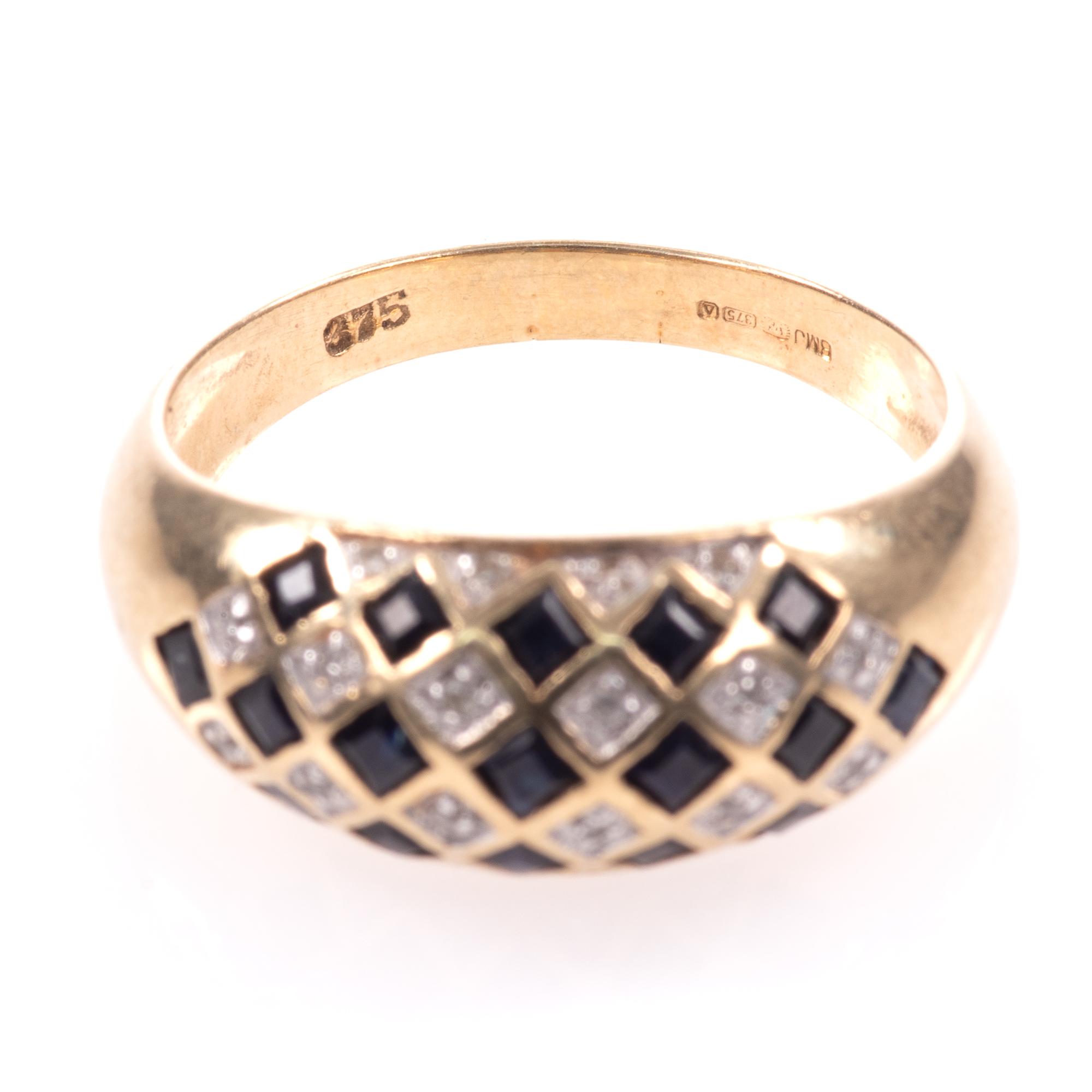 9ct Gold Art Deco Style 0.68ct Sapphire & Diamond Ring - Image 3 of 8