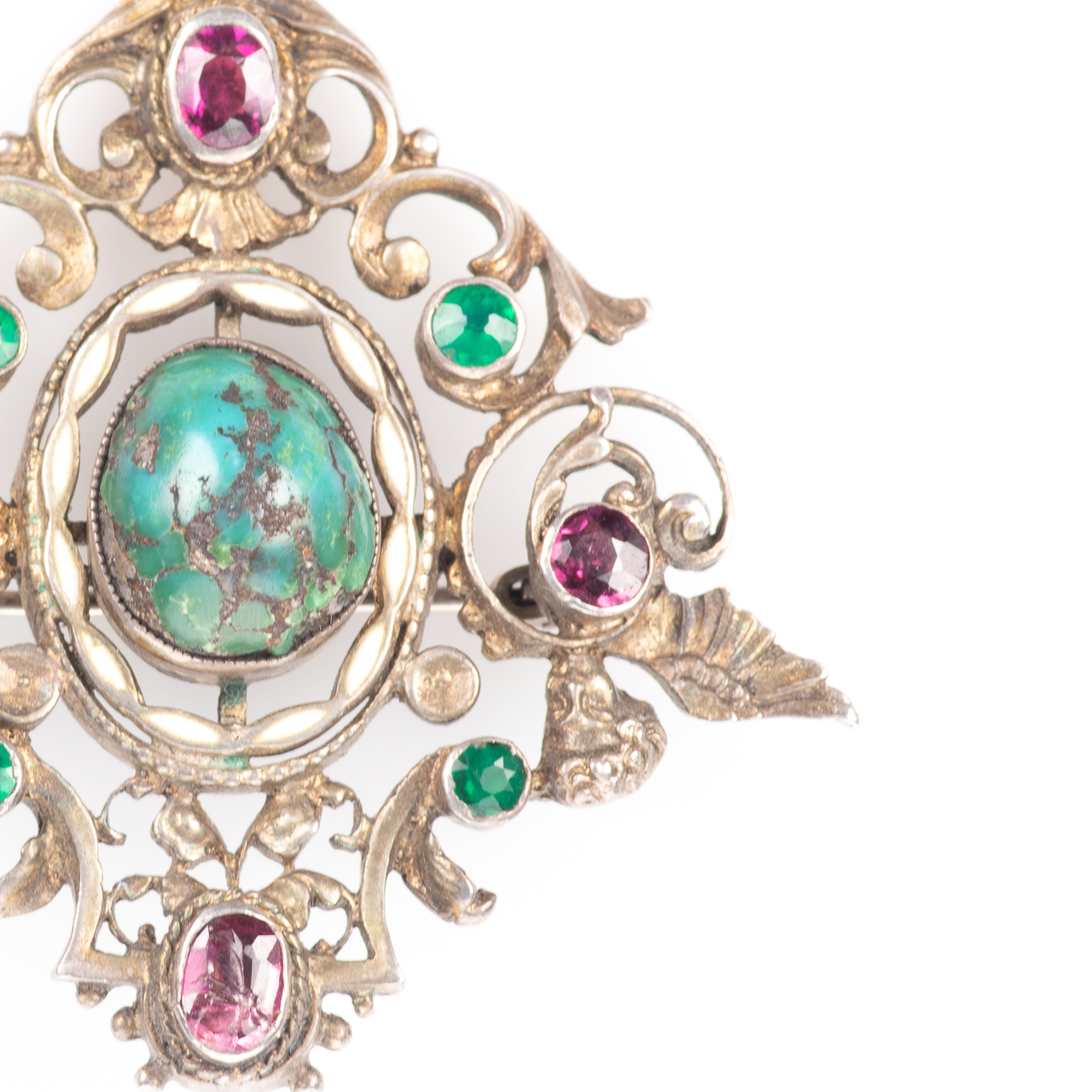 Austro-Hungarian 935 Silver Emerald, Amethyst & Turquoise Brooch - Image 2 of 6
