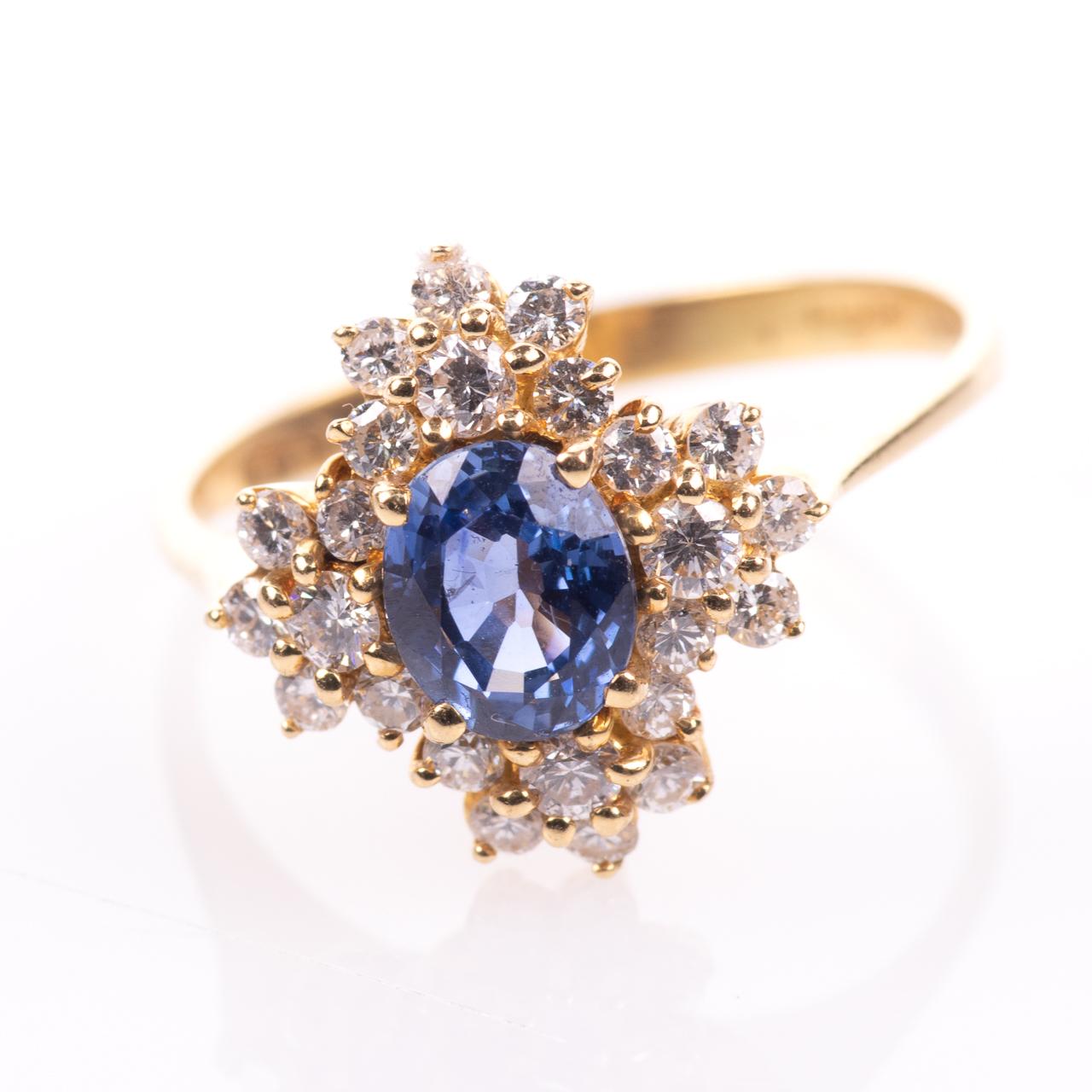18ct Gold 1ct Sapphire & 0.70ct Diamond Ring
