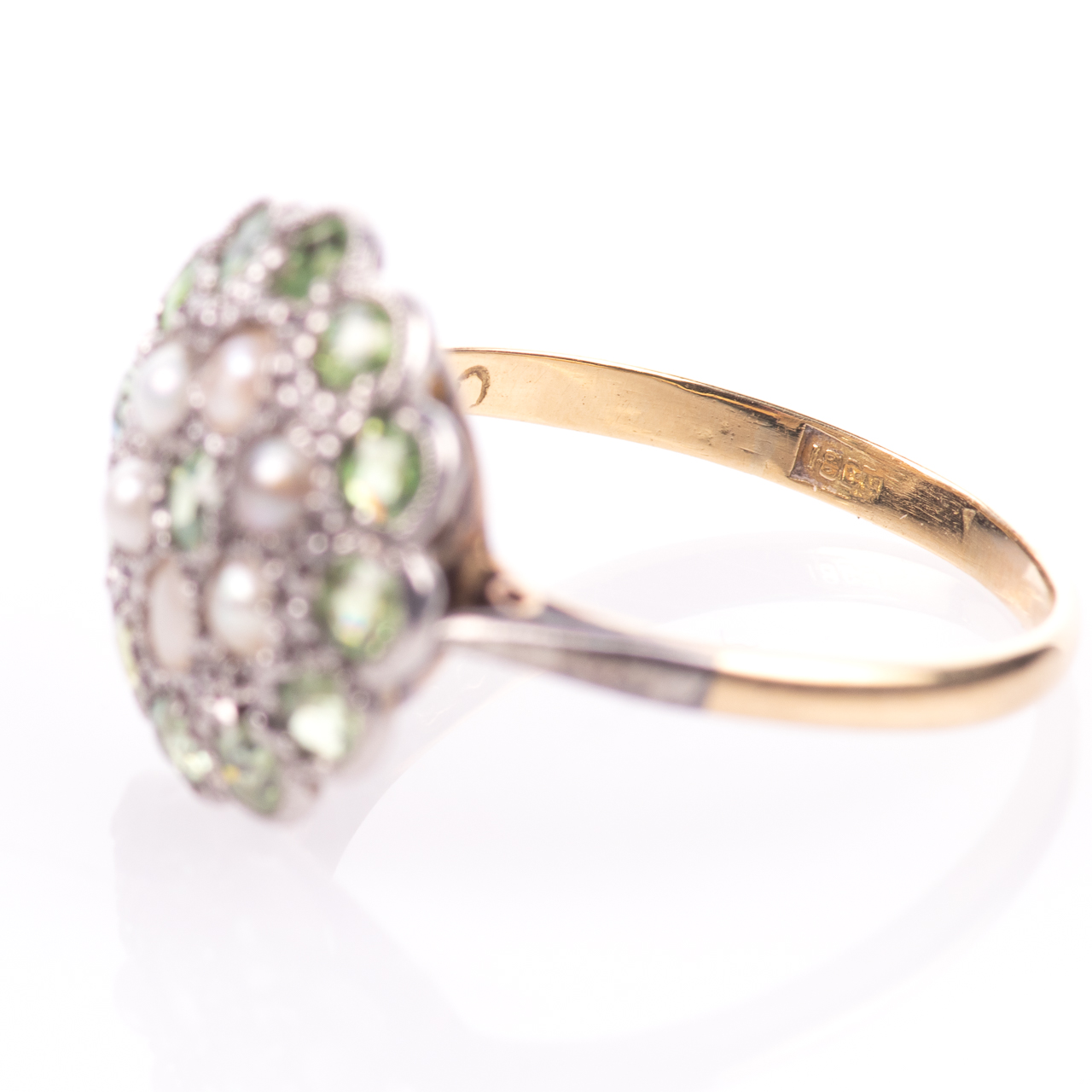 18ct Gold Victorian Peridot & Pearl Cluster Ring - Image 5 of 8