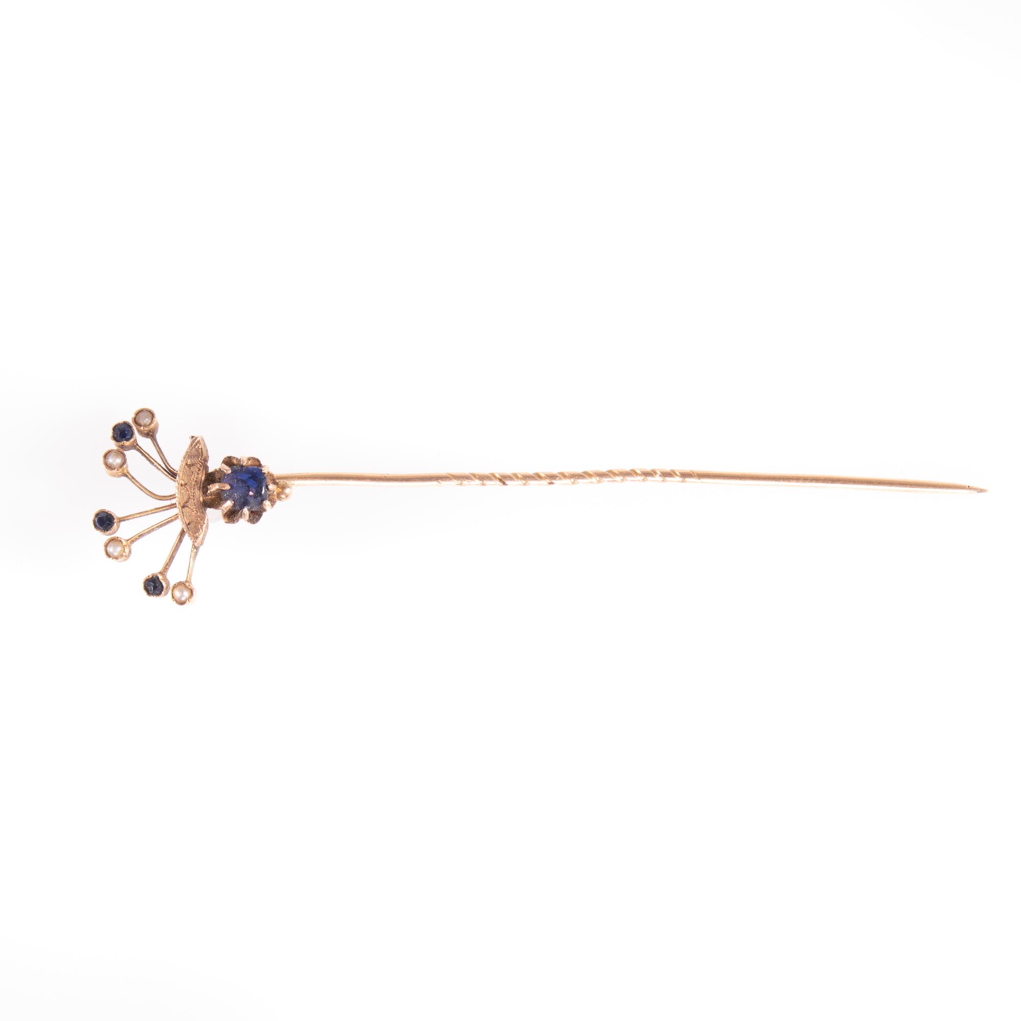 9ct Gold Victorian Sapphire & Pearl Stickpin Brooch