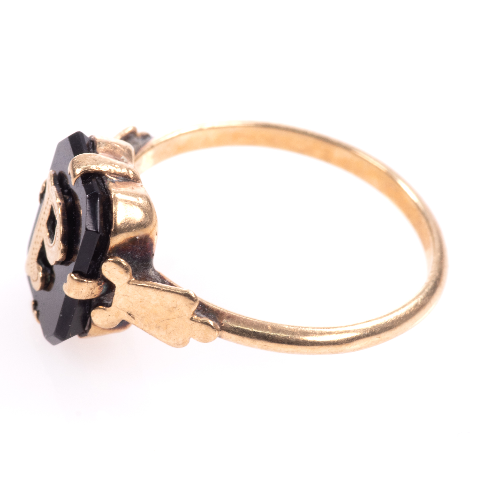 """9ct Gold Victorian Onyx Mourning Ring """"P"""" - Image 4 of 7"""