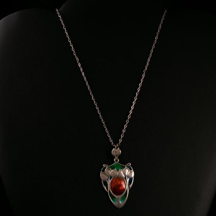Liberty & Co Art Nouveau Silver Enamel Pendant & Necklace - Image 2 of 5