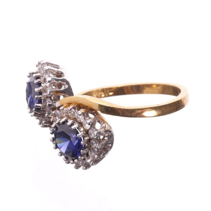 Synthetic Sapphire & Paste Gilded Ring - Image 3 of 5