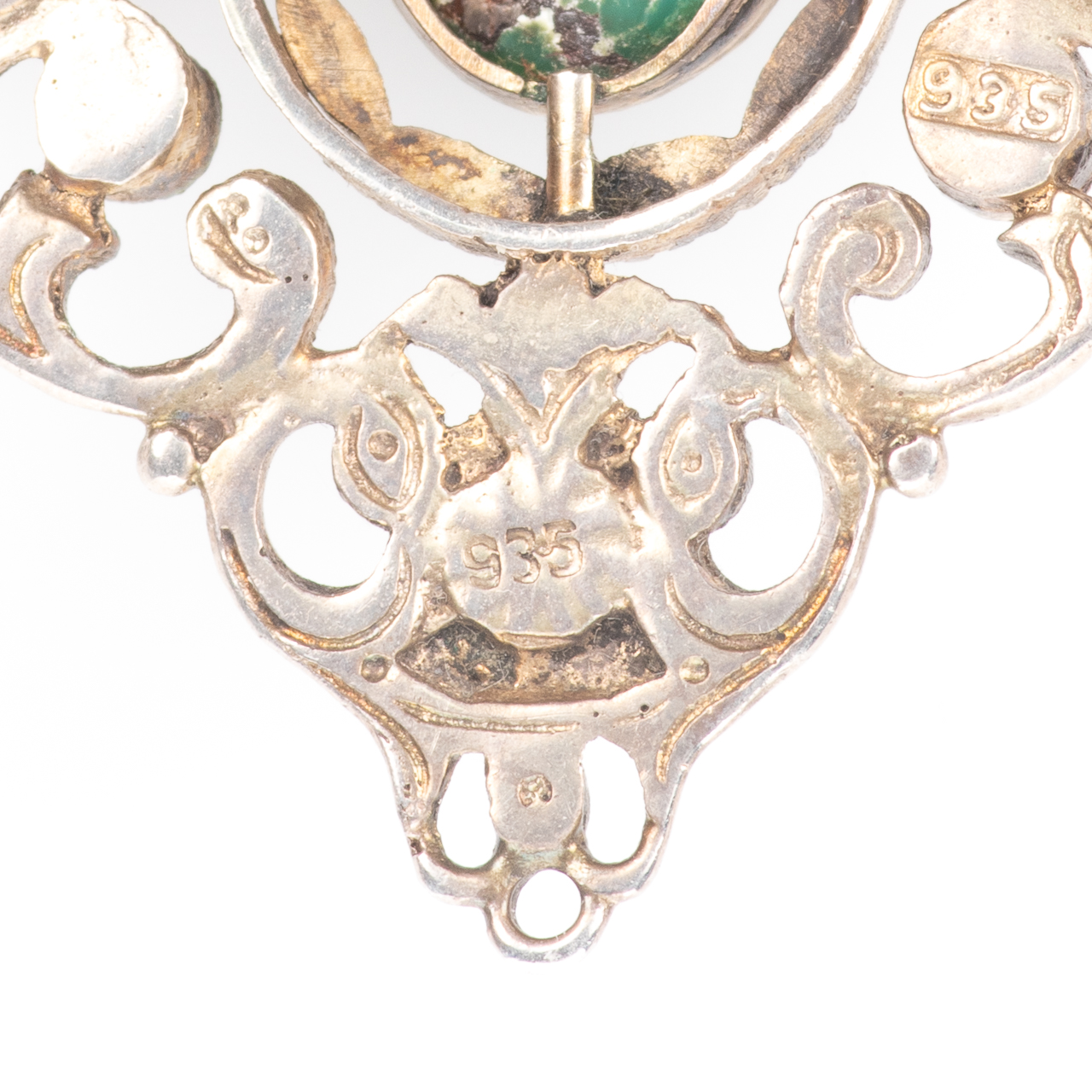 Austro-Hungarian 935 Silver Emerald, Amethyst & Turquoise Brooch - Image 5 of 6