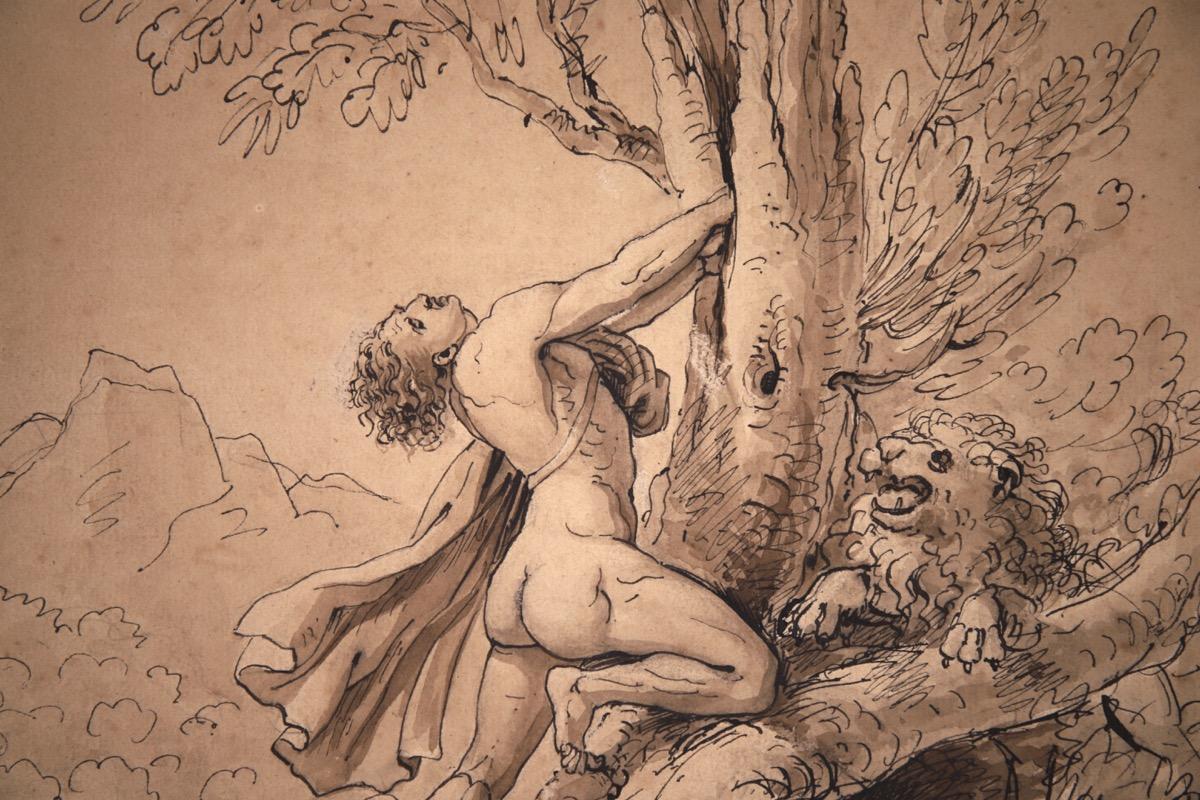 XVII Italian Old Master Drawing of Milo of Croton - Image 7 of 11