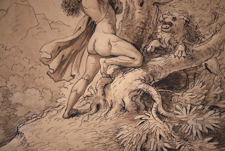 XVII Italian Old Master Drawing of Milo of Croton - Image 4 of 11
