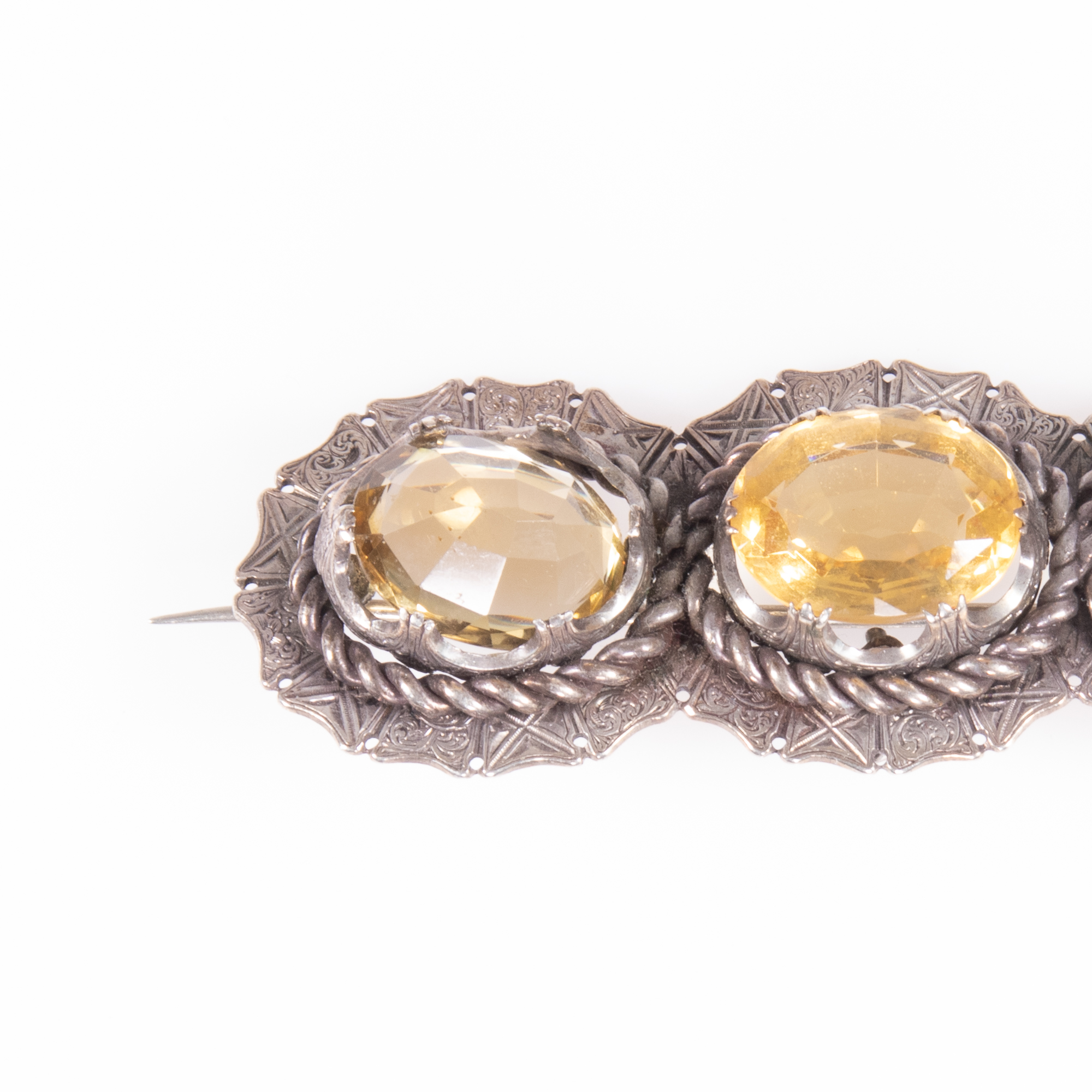 Victorian Cairngorm Silver 28.20ct Citrine Brooch ca. 1880 - Image 2 of 6