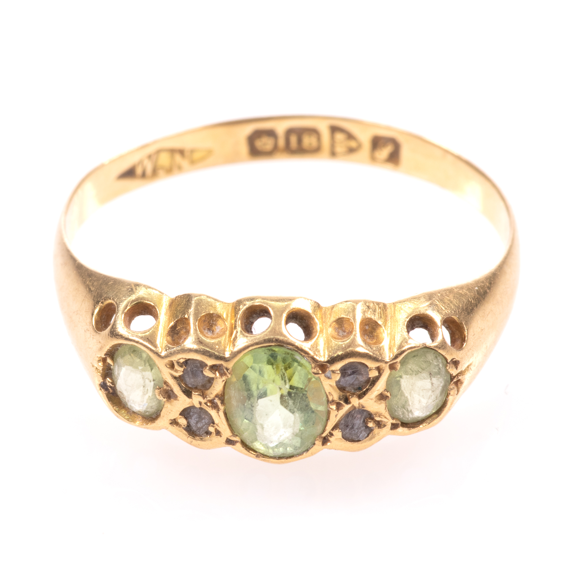 18ct Gold 0.90ct Peridot & Diamond Ring Chester 1918 - Image 3 of 8