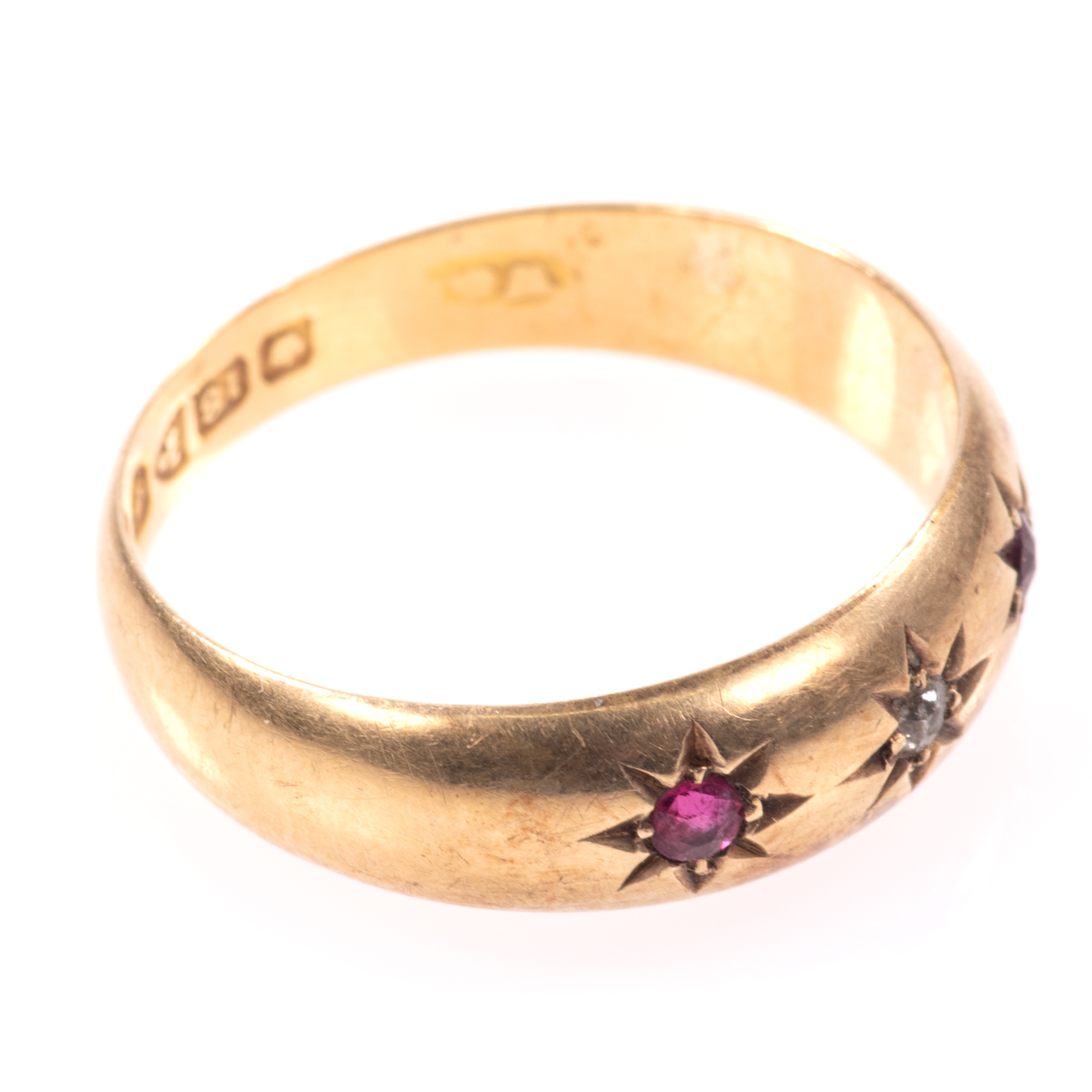 18ct Gold Edwardian Ruby & Diamond Ring Chester 1909 - Image 7 of 8
