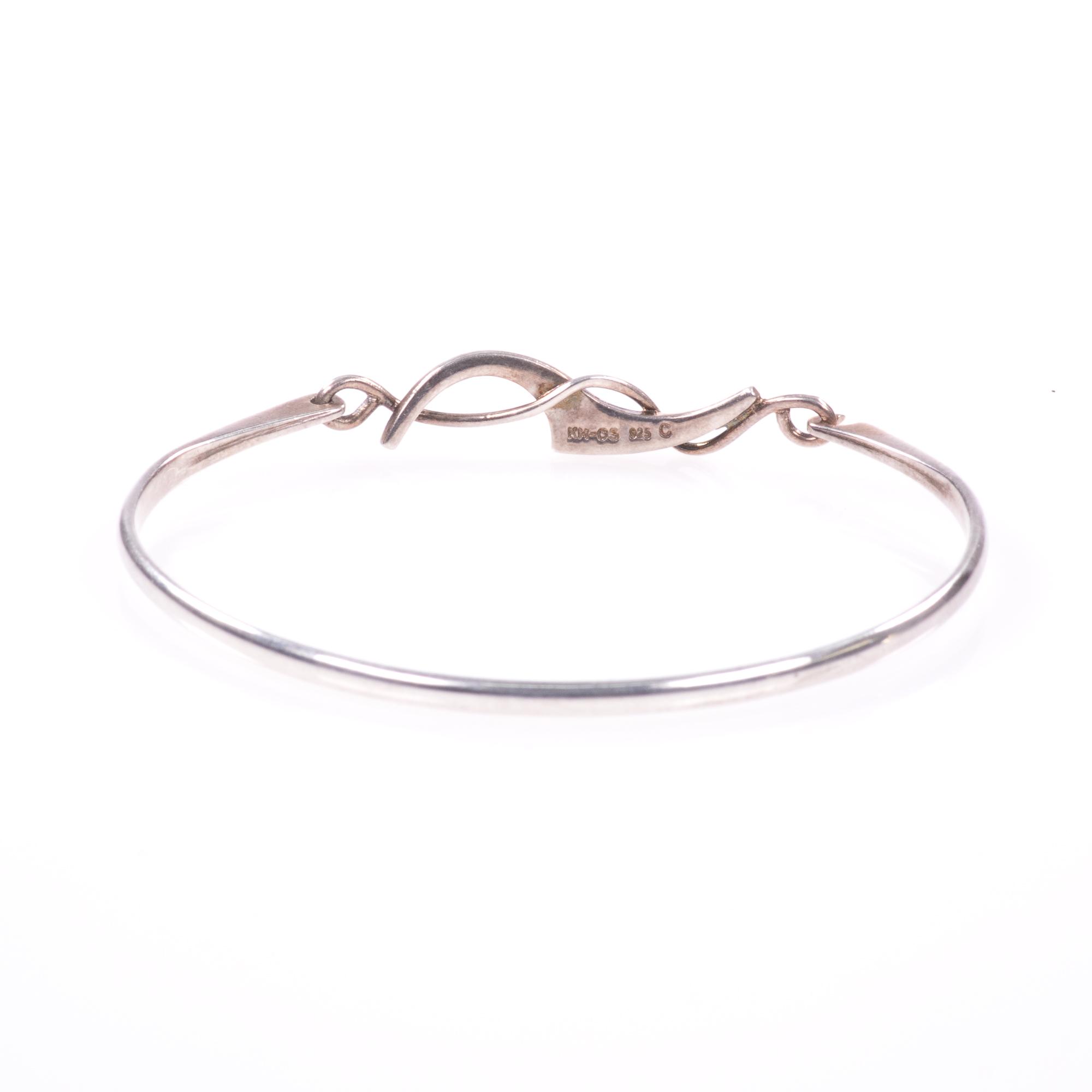 Silver Abstarct Modernist Bangle Bracelet - Image 5 of 9
